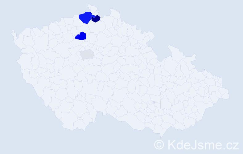 Příjmení: 'Kaulfers', počet výskytů 5 v celé ČR