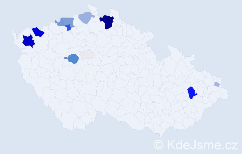 Příjmení: 'Grajcár', počet výskytů 26 v celé ČR