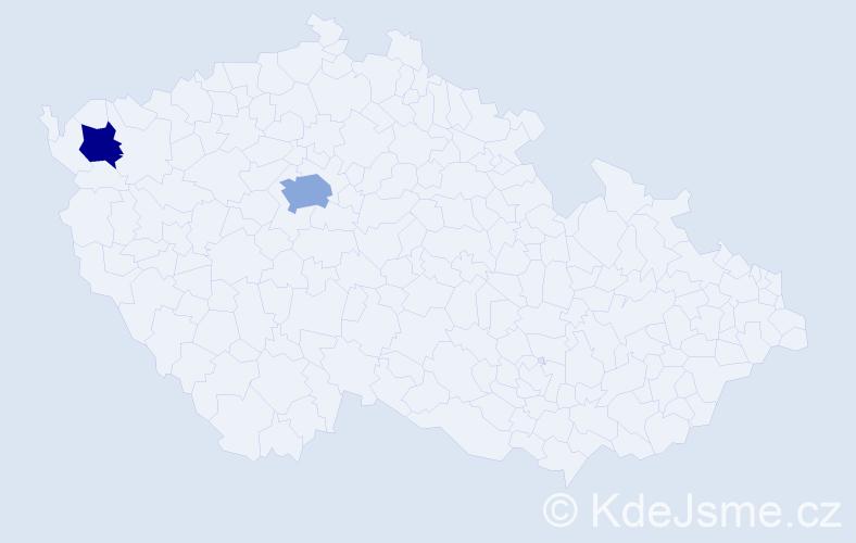"""Příjmení: '""""De Marco""""', počet výskytů 3 v celé ČR"""