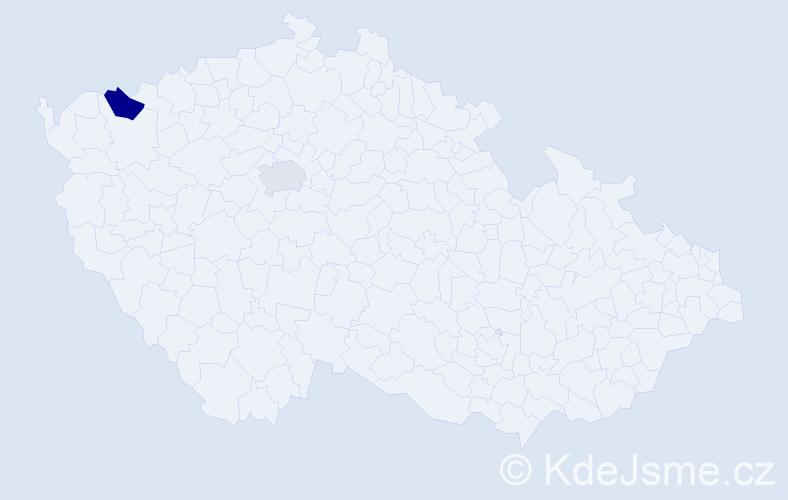 Příjmení: 'Khaled', počet výskytů 7 v celé ČR