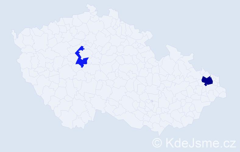 Příjmení: 'Lazoriková', počet výskytů 4 v celé ČR