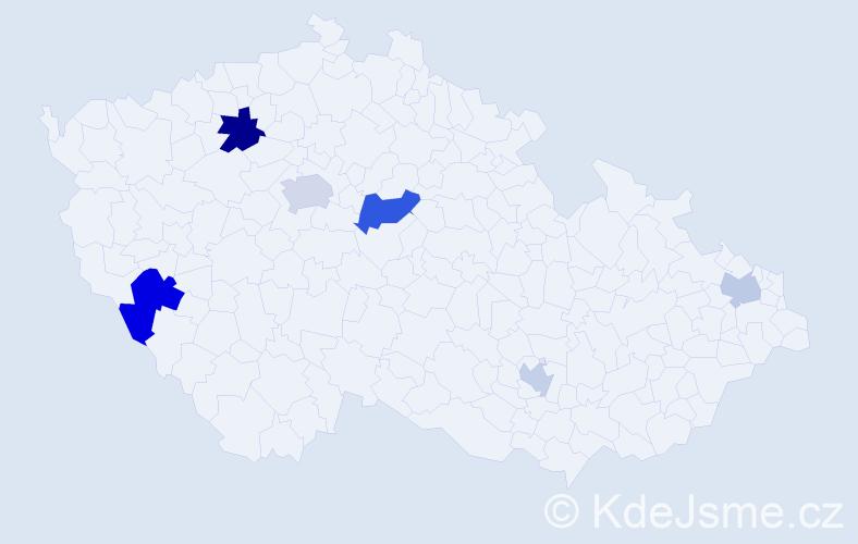 Příjmení: 'Eiben', počet výskytů 10 v celé ČR
