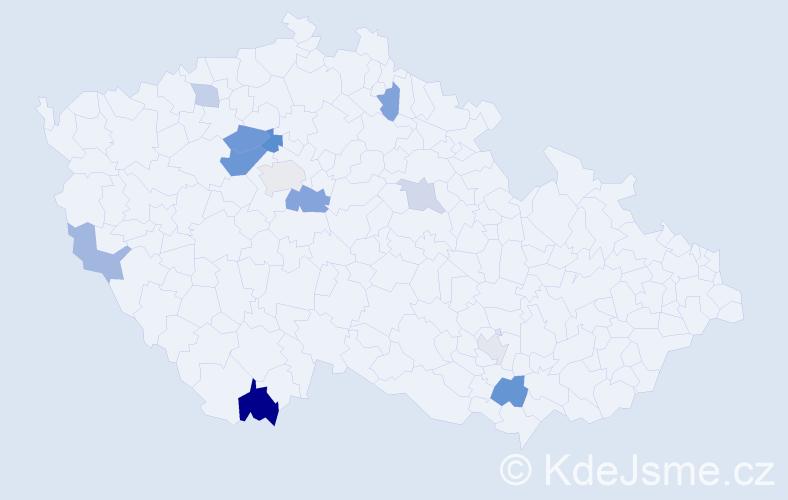 Příjmení: 'Hádlová', počet výskytů 23 v celé ČR
