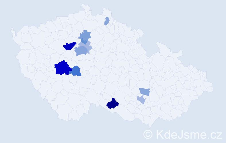 Příjmení: 'Hlinomazová', počet výskytů 36 v celé ČR