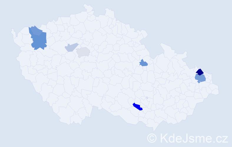 Příjmení: 'Halecký', počet výskytů 21 v celé ČR