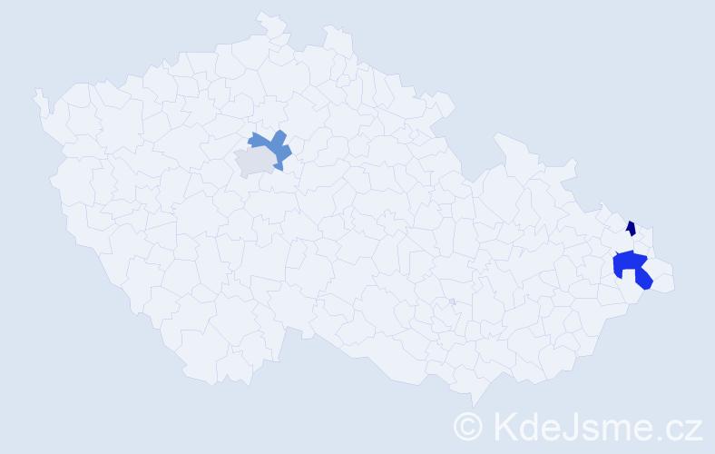 Příjmení: 'Gűttler', počet výskytů 5 v celé ČR