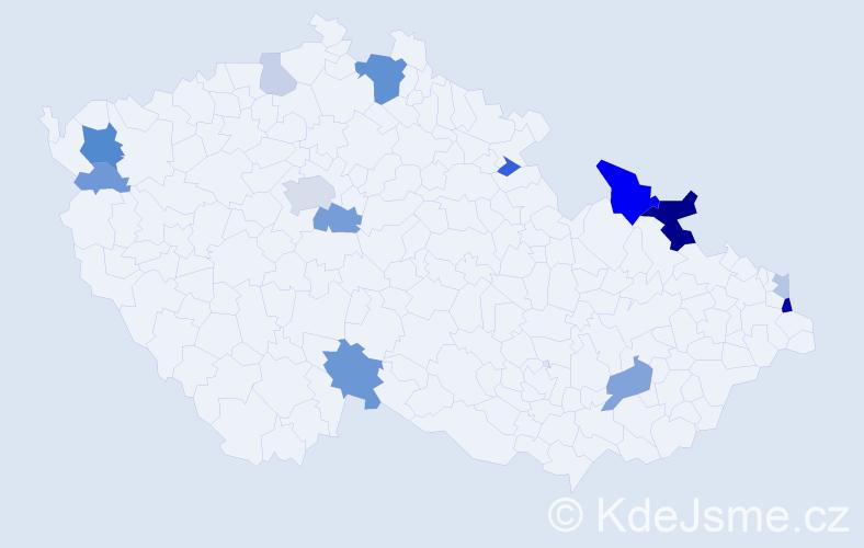 Příjmení: 'Andráško', počet výskytů 35 v celé ČR