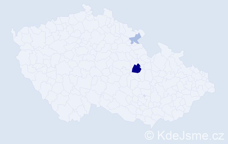 Příjmení: 'Gyömbér', počet výskytů 4 v celé ČR
