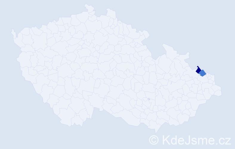 Příjmení: 'Kollarczik', počet výskytů 6 v celé ČR
