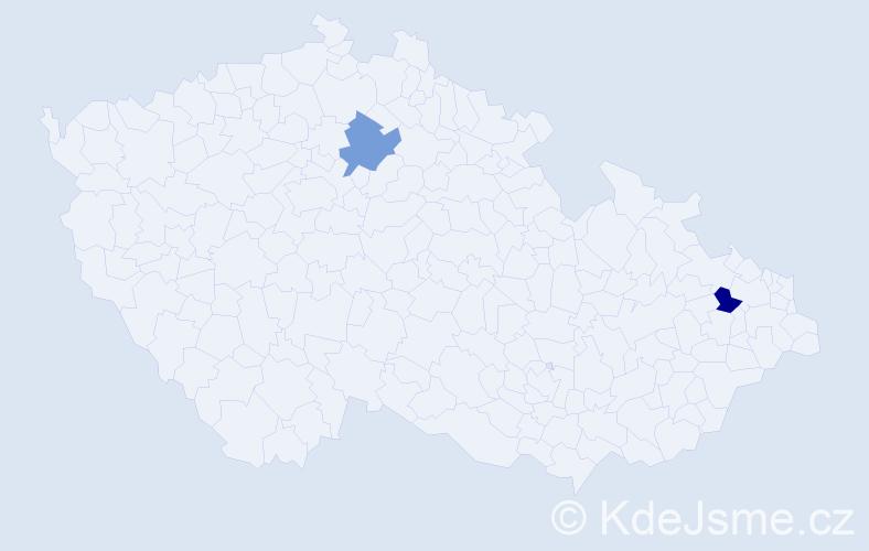 Příjmení: 'Csiffáriová', počet výskytů 2 v celé ČR