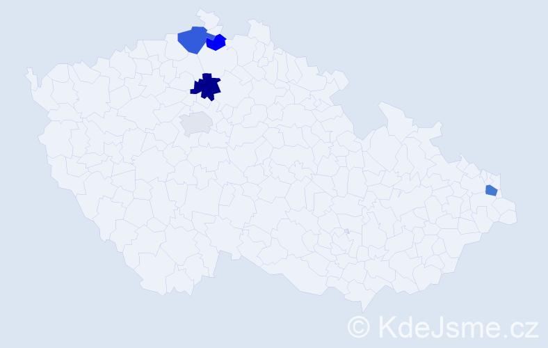 Příjmení: 'Bajak', počet výskytů 8 v celé ČR