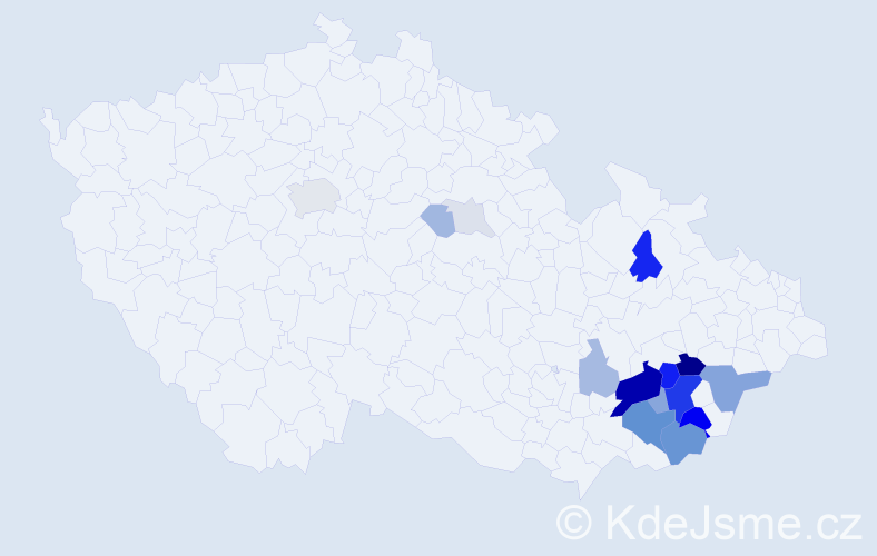 Příjmení: 'Gahura', počet výskytů 73 v celé ČR