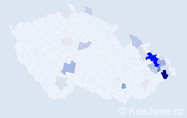 Příjmení: 'Kořená', počet výskytů 102 v celé ČR