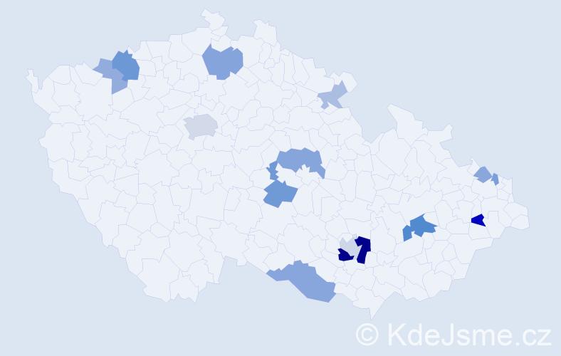 Příjmení: 'Bartók', počet výskytů 35 v celé ČR