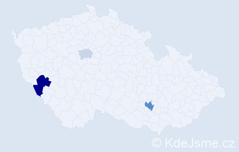 Příjmení: 'Bědajánek', počet výskytů 4 v celé ČR