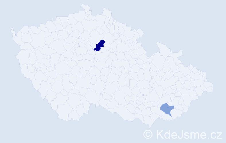 Příjmení: 'Joof', počet výskytů 3 v celé ČR