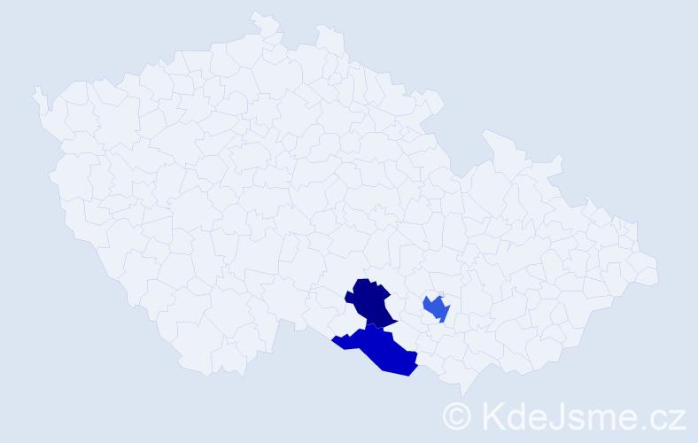Příjmení: 'Jarušauskas', počet výskytů 4 v celé ČR