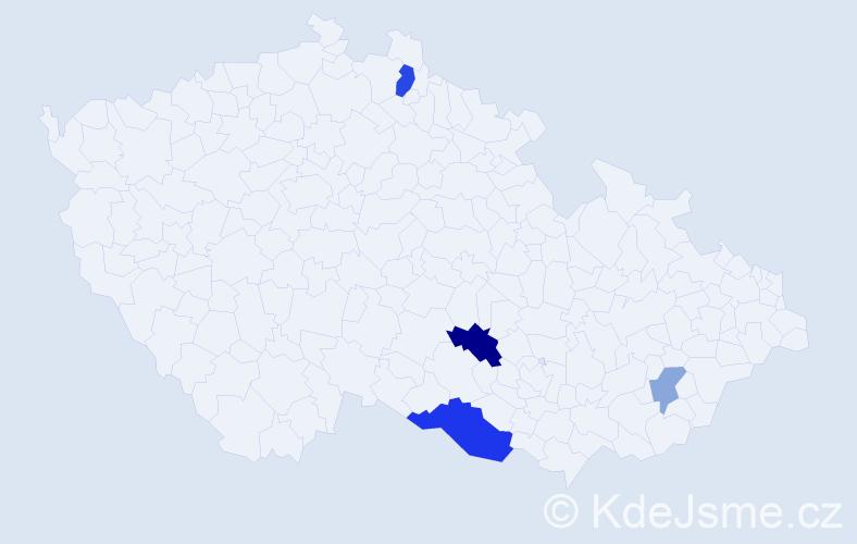 Příjmení: 'Čachová', počet výskytů 8 v celé ČR
