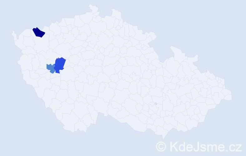 Příjmení: 'Klocháňová', počet výskytů 4 v celé ČR