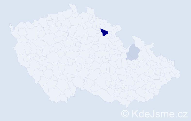 Příjmení: 'Lár', počet výskytů 13 v celé ČR