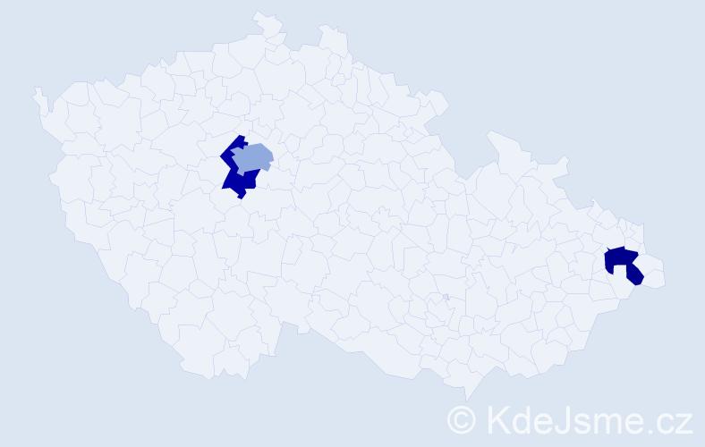 Příjmení: 'Elvy', počet výskytů 7 v celé ČR
