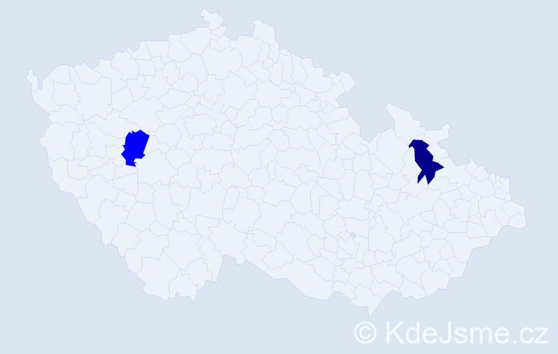 Příjmení: 'Čilípka', počet výskytů 2 v celé ČR