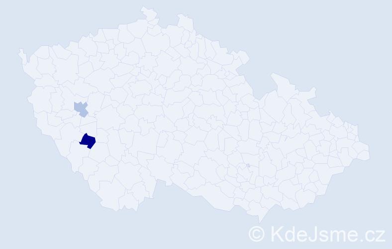 Příjmení: 'Khínová', počet výskytů 7 v celé ČR