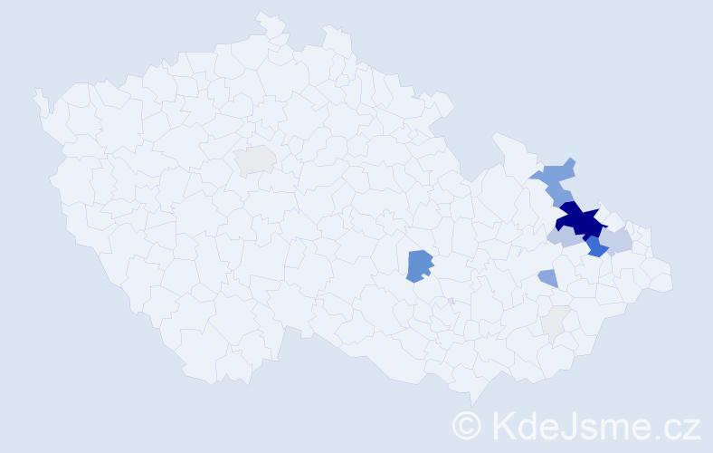 Příjmení: 'Illíková', počet výskytů 95 v celé ČR