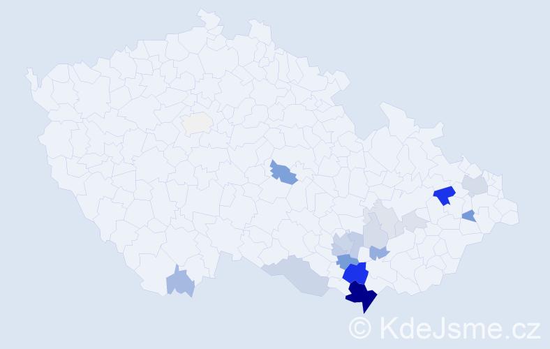 Příjmení: 'Balšínek', počet výskytů 59 v celé ČR