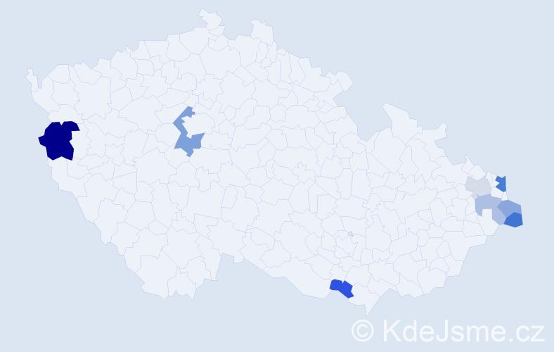 Příjmení: 'Hvizdošová', počet výskytů 13 v celé ČR