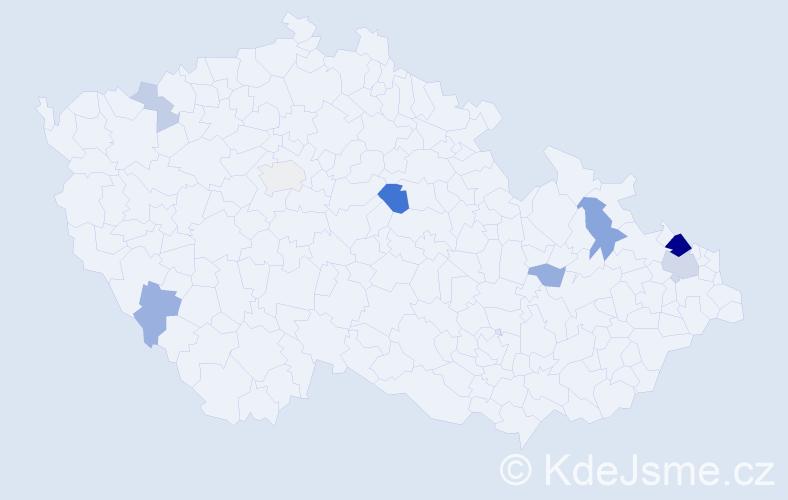 Příjmení: 'Hurina', počet výskytů 21 v celé ČR