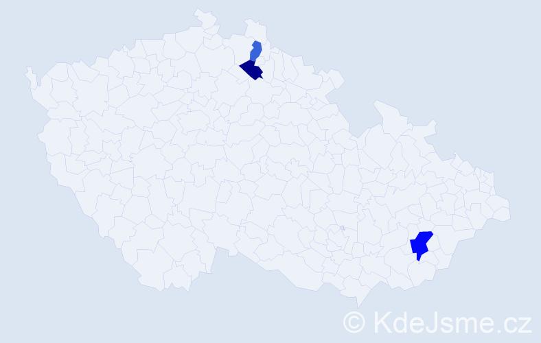 Příjmení: 'Červen', počet výskytů 4 v celé ČR