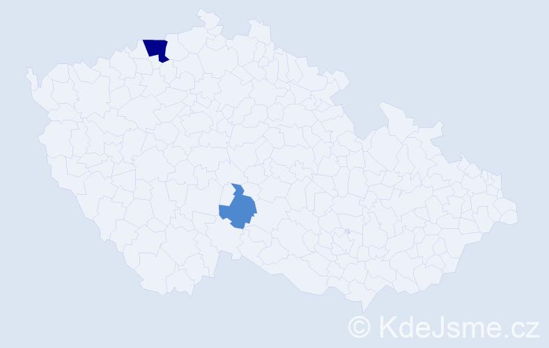 Příjmení: 'Babijčuk', počet výskytů 5 v celé ČR