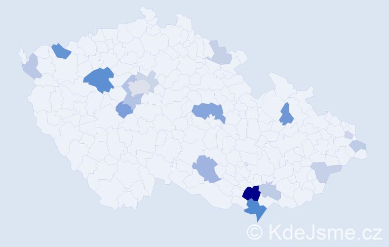 Příjmení: 'Hekl', počet výskytů 38 v celé ČR