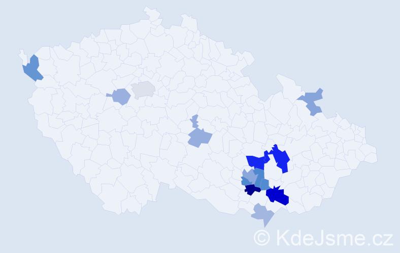 Příjmení: 'Bavlnka', počet výskytů 36 v celé ČR