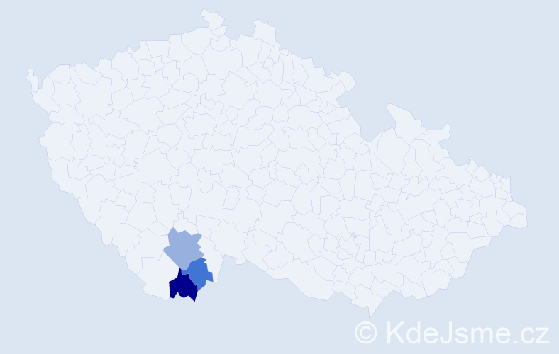Příjmení: 'Aichmajer', počet výskytů 5 v celé ČR