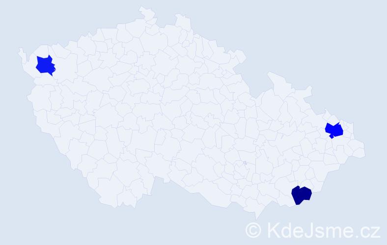 Příjmení: 'Gálková', počet výskytů 5 v celé ČR