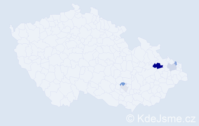 Příjmení: 'Czechaczková', počet výskytů 7 v celé ČR