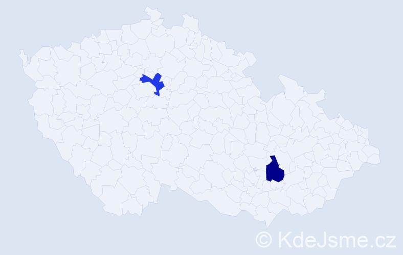"""Příjmení: '""""El Bourkhissi""""', počet výskytů 4 v celé ČR"""