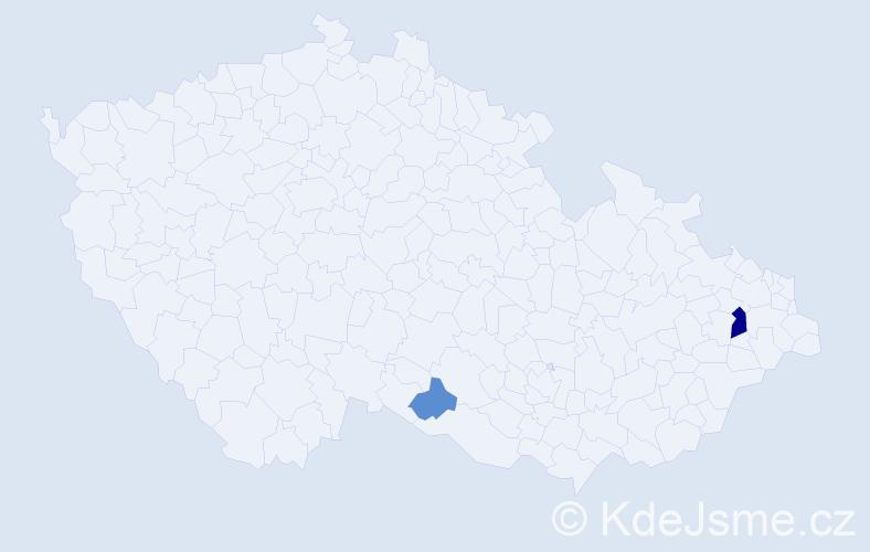 Příjmení: 'Čuporyová', počet výskytů 5 v celé ČR