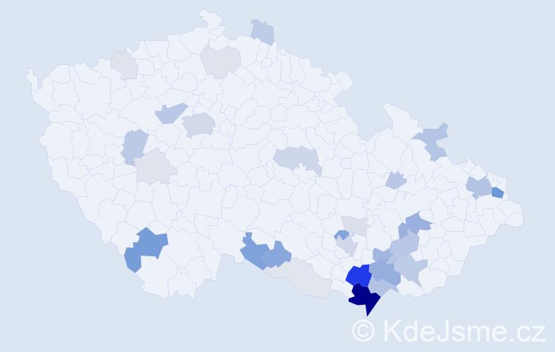 Příjmení: 'Gála', počet výskytů 121 v celé ČR