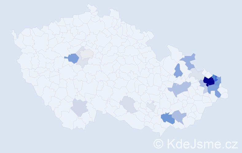 Příjmení: 'Goj', počet výskytů 114 v celé ČR