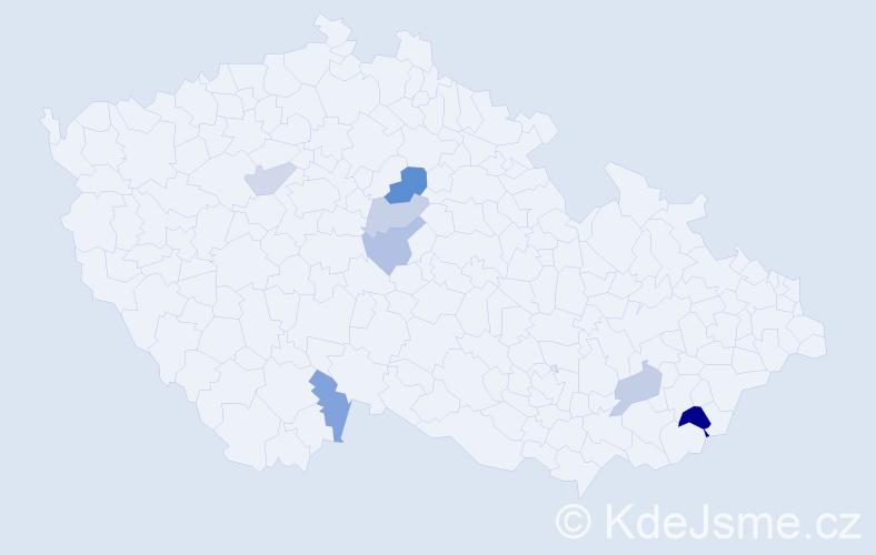 Příjmení: 'Klimák', počet výskytů 10 v celé ČR