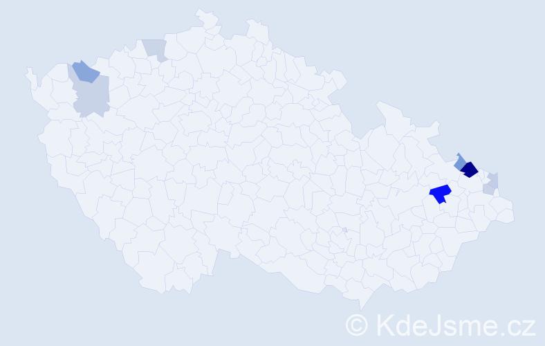 Příjmení: 'Badejová', počet výskytů 14 v celé ČR