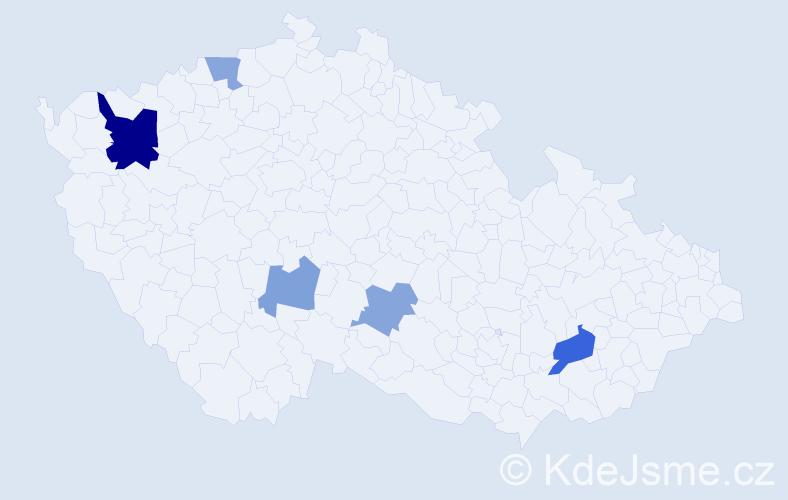 Příjmení: 'Charčenková', počet výskytů 9 v celé ČR