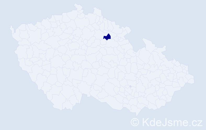 """Příjmení: '""""Duchačová Vyskočilová""""', počet výskytů 3 v celé ČR"""