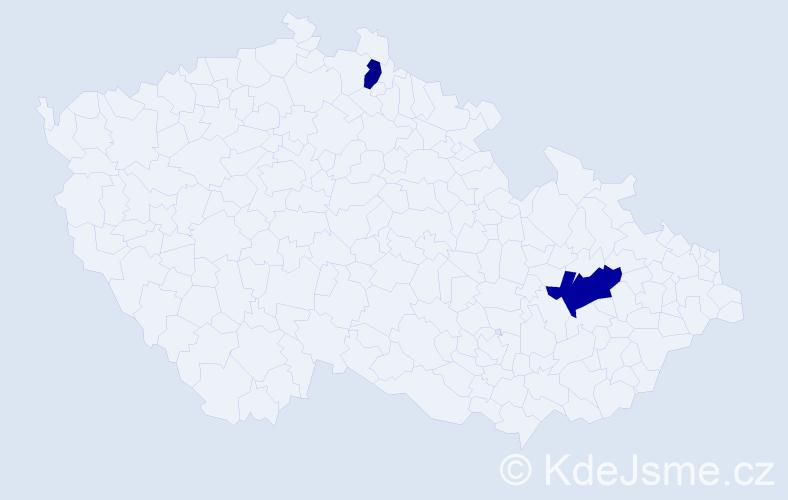 Příjmení: 'Koktánek', počet výskytů 6 v celé ČR