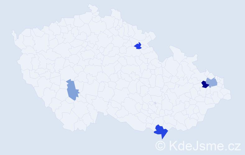 Příjmení: 'Čomová', počet výskytů 10 v celé ČR