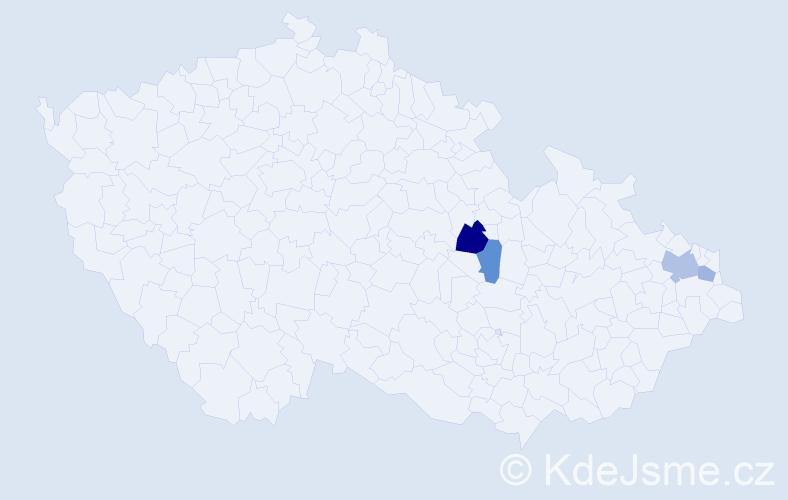 Příjmení: 'Hajrová', počet výskytů 6 v celé ČR