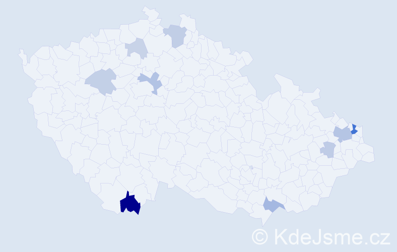 Příjmení: 'Magdolen', počet výskytů 23 v celé ČR